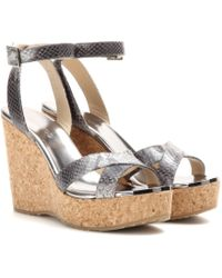 Jimmy Choo Papyrus Leather Wedge Sandals - Lyst