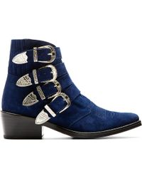 Toga Pulla Blue Suede Western Buckle Boots - Lyst