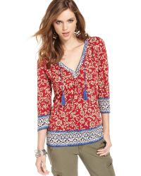 Lucky Brand Jeans Printed Peasant Top - Lyst