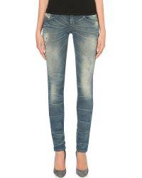 Diesel Getlegg Slimfit Distressed Jeans Blue - Lyst