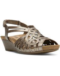 Cobb Hill - Helen Metallic Leather Wedge Sandals - Lyst
