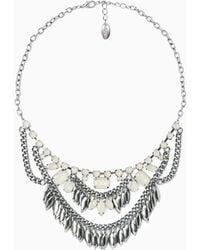 Violeta by Mango Pendant Crystals Necklace - Lyst