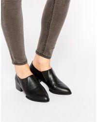 Daisy Street - Black Loafer Kitten Heel Chelsea Shoes - Lyst