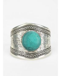 Urban Outfitters - Emerald Etched Stone Cuff Bracelet - Lyst