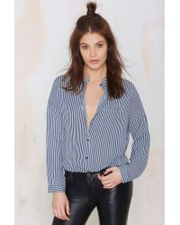 Nasty Gal Straighten Your Act Striped Shirt - Lyst