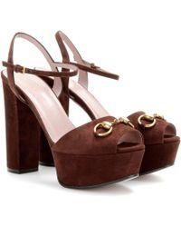 Gucci Suede Platform Sandals - Lyst