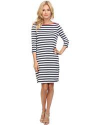 Three Dots Boatneck 3/4 Sleeve Dress - Lyst