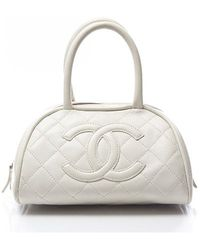 Chanel Pre-owned White Lambskin Quilted Cc Bowler Bag - Lyst