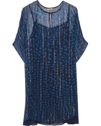 Issa Printed Metallic Silk-Chiffon Dress - Lyst