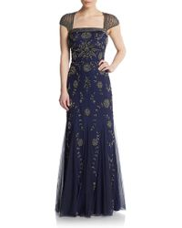 Adrianna Papell Beaded Cap-Sleeve Gown - Lyst