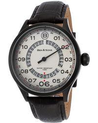 Ben Minkoff - Arrow Black Genuine Leather White Dial Black Ip Ss - Lyst