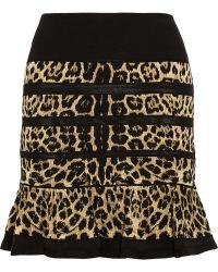 Roberto Cavalli Leopardintarsia Woolblend Mini Skirt - Lyst