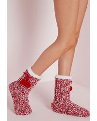 Missguided - Chunky Knit Slipper Socks Red - Lyst