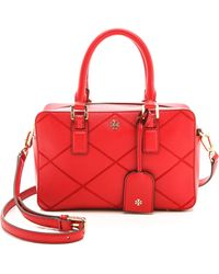 Tory Burch Robinson Stitched Square Satchel  Kir Royale - Lyst