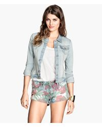 H&M - Patterned Denim Shorts - Lyst
