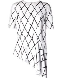 Balenciaga Graphic Net-Print Asymmetric Top - Lyst