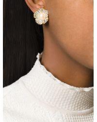 Nina Ricci Floral Clip-on Earrings - Metallic