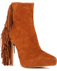 Jeffrey Campbell Sampson-Lo Tan Suede Fringe Booties - Lyst