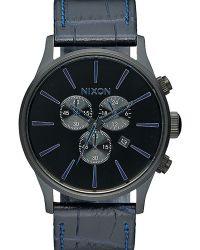 Nixon   Navy Sentry Chrono Leather Watch   Lyst