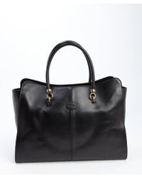 Tod's Black Leather Logo Stamp Large Top Handle Tote - Lyst