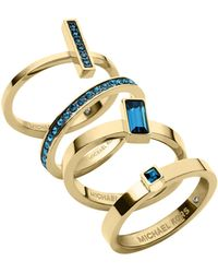Michael Kors Golden Montana Stone Stackable Rings Set - Lyst