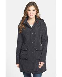 DKNY Grosgrain Trim Hooded Raincoat - Lyst