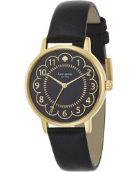 Kate Spade Metro Scalloped Enamel, Goldtone Stainless Steel & Saffiano Leather Strap Watch gold - Lyst