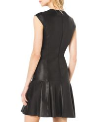 Michael Kors Drop-Skirt Cap-Sleeve Leather Dress - Lyst