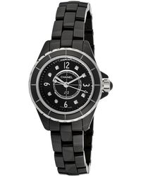Chanel Pre-Owned Women'S J12 Diamond Black Ceramic And Dial black - Lyst