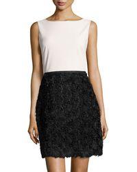 Halston Heritage Rosette Sleeveless Dress - Lyst