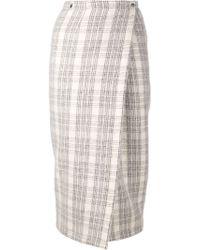 Yigal Azrouël | Plaid Wrap Skirt Platinum | Lyst