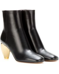 Valentino Embellished Leather Ankle Boots - Black