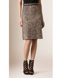 Burberry | Leopard Jacquard Silk Blend Skirt | Lyst