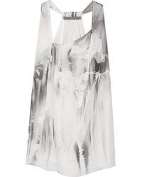 Halston Heritage Printed Silk Top gray - Lyst