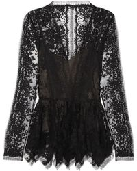 Oscar de la Renta Chantilly Lace Peplum Top - Lyst