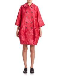 Comme des Garçons Floral Jacquard Coat pink - Lyst