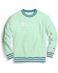Champion Life® Reverse Weave® Yarn Dye Rib Trim Crew, Vintage Logo - Green