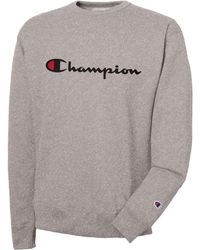 ed67330d8300 Champion Script Logo Crew Sweat in Yellow for Men - Lyst