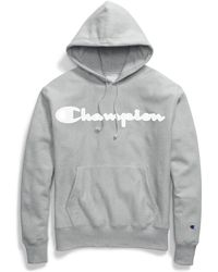 Champion - Life® Reverse Weave® Hoodie, Mesh & Leather Logo - Lyst