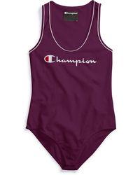 Champion Life® Everyday Tank Top Bodysuit, Script Logo - Purple