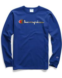 Champion - Life® Long-sleeve Tee, Gold Script Logo - Lyst