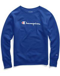 Champion - Plus Powerblend® Fleece Crew, Script Logo - Lyst