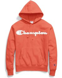 Champion - Life® Reverse Weave® Hoodie, Mesh & Leather Logo - Lyst