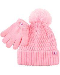 Champion Kids' Athletics Pattern Pom Beanie And Glove Set - Pink