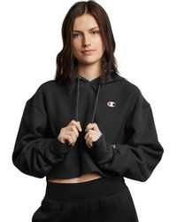 Champion Life Reverse Weave Cropped Cut Off Hood- Fit - Black