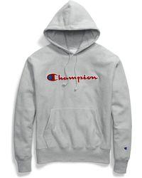 Champion - Life® Reverse Weave® Pullover Hood, Chenille Logo - Lyst