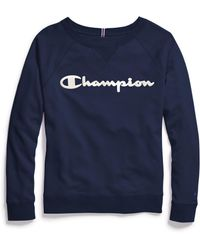Champion Plus Heritage French Terry Crew, Satin Stitch Logo - Blue