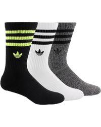 3 Pack 3 Stripe Crew Socks Black