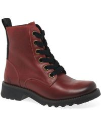 Fly London Ragi Womens Military Style Boots - Red