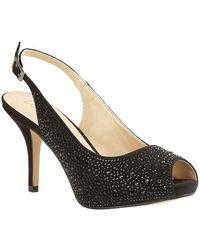 Lotus Astro Womens Peep-toe Slingback Court Shoe - Black